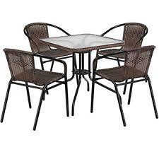 Wicker Patio Furniture Ebay Outdoor Wicker Patio 5 Pc Balencia Bistro Set Chairs Ottomans