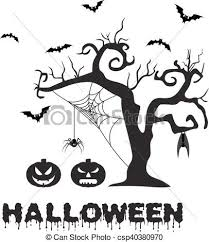 vectors illustration of spooky silhouette of halloween tree