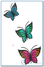 3 colours beautiful butterfly embroidery design emblanka com