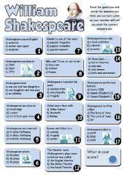worksheet william shakespeare quiz