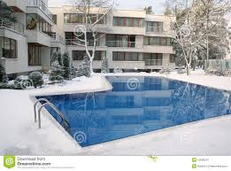 open air swimming pool in winter stock photo image 12830210