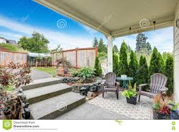 back yard view with covered cozy patio area stock image image