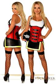Firefighter Halloween Costume Alarm Firefighter Corset Costume