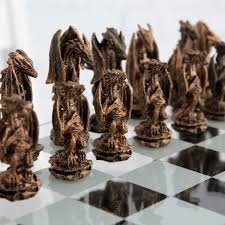 3d dragon pewter chess set hayneedle