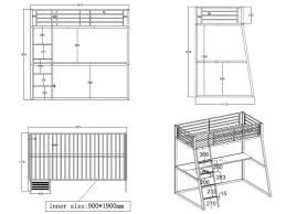 plan bureau d angle lit mezzanine malicia 90x190 bureau option matelas