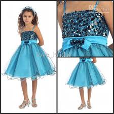 2015 arrival flower dresses turquoise black sparkly sequined