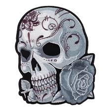 studded grey sugar skull patch patches for