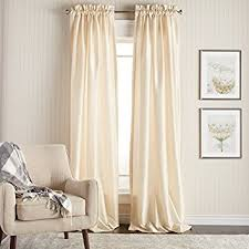 White Faux Silk Curtains 2 96 Inch Ivory Color Faux Silk Curtains Panel