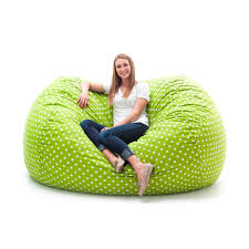 fuf 7 ft xxl twill bean bag sofa green with small white dots