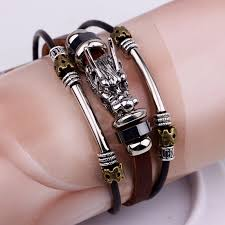 bracelet fashion men images Men silver leather bracelet fashion male dragon multilayer hubket jpg