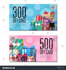 shopping certificate template set gift box stock vector 604330751