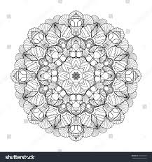 graphic seashells circle ornament ocean line stock vector