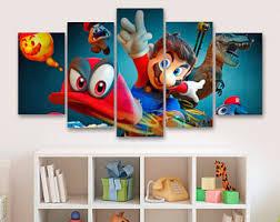 Super Mario Bedroom Decor Super Mario Kart 5 Piece Canvas Gaming Canvas Childrens