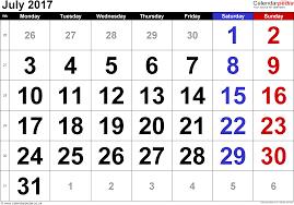 calendar 2017 usa