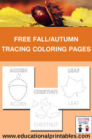 free fall autumn tracing coloring pages educational printables