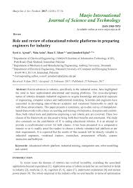role and review of educational robotic platforms in preparing