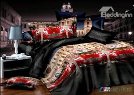 cool red race car print 4 piece duvet cover bedding sets 10533434