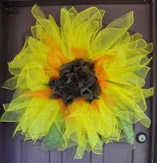 sunflower mesh wreath sunflower deco mesh and burlap wreath aftcra