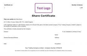 uk share certificate template free share certificate template