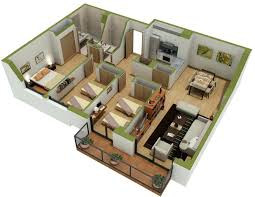 3d floor plan visualisationthree bedroom apartment plans one