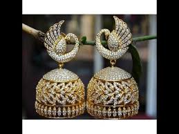 jhumka earrings peacock design stunning gold jhumka jhumka earrings