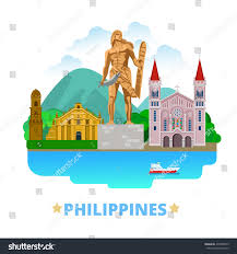 philippines country flat cartoon style historic stock vector