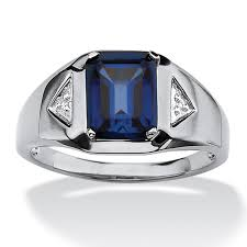 midnight blue wedding band men s 2 75 tcw emerald cut sapphire and diamond accented ring in