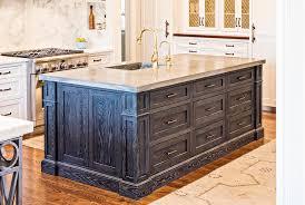 blue kitchen island with oak cabinets blue oak kitchen island with zinc sink transitional kitchen