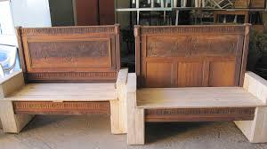 Old Wood Benches For Sale by Old Bed Transformed Into Benches Using Pallets U2022 1001 Pallets
