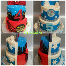 two sided spiderman and frozen cake for a brother and sister
