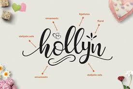 hollyn script with ornaments font by va font bundles