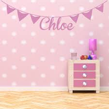 online get cheap wall stickers bunting aliexpress com alibaba group bunting personalised name wall stickers artistic design wall decal girls room removable nursery home decor wallpaper
