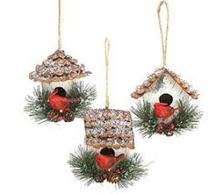 set of 3 birdhouse ornaments cardinal 3 25