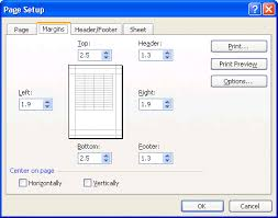 microsoft excel page layout and printing
