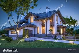 chalet house 3d rendering modern cozy house chalet stock illustration 644945161