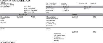 Sle Pay Stub Template Excel Paycheck Stub Template Eknom Jo