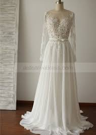 a line scoop long sleeves lace chiffon backless wedding dress
