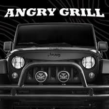 jeep grill logo angry jeep 07 16 jk grille angry grill kit w black jeep emblem u0026 hood