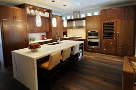 modern kitchen minimalist design with simply island and stunning wooden wardrobe for kitchen design with pendant lamps above white marble island plus bar