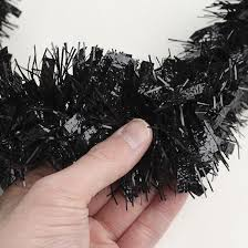 black tinsel garland 6 garlands and