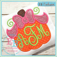 bow pumpkin applique