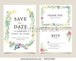 wedding invitation card template text flower stock vector