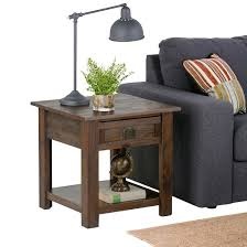 Distressed Sofa Table by Monroe End Table Distressed Charcoal Brown Simpli Home Target