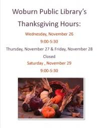 thanksgiving hours woburn library