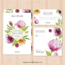 watercolor wedding invitation with flowers vector free