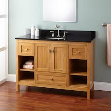 Bathroom Furniture Wood Gray Stained Wooden Vanity Cabinet With Open Shelf And Drawers