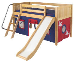 maxtrix low loft bed natural with slide and curtains bed frames