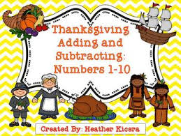thanksgiving addition and subtraction numbers 1 10 by kicera