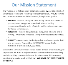 mission statement 1 they will be comforted in knowing that they