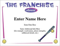 the franchise certificate softball template fastpitch award